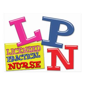 LPN NURSE MEDICAL ACRONYM WHIMSICAL COLORFUL POSTCARD