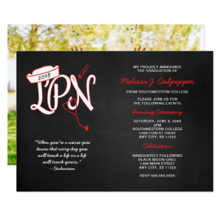 LPN photo graduation pinning party chalkboard Card