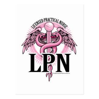 LPN PINK Caduceus Post Card