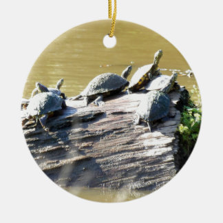 LSU Turtles.JPG Round Ceramic Ornament