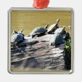 LSU Turtles.JPG Silver-Colored Square Ornament
