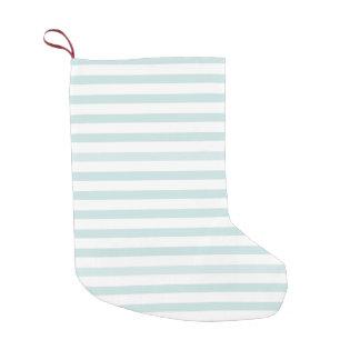 Lt. Blue and White Horizontal Stripe Small Christmas Stocking