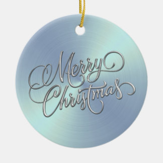Lt Blue Sheen and Silver Merry Christmas Round Ceramic Ornament