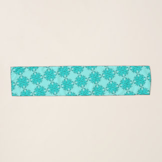 Lt Blue / Teal Clover Ribbon by Kenneth Yoncich Scarf