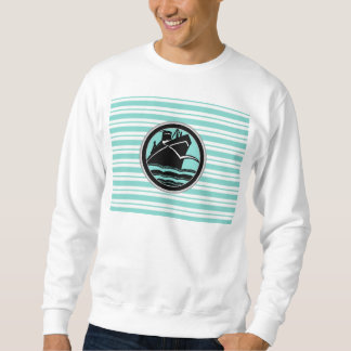 Lt Blue White Striped Black Cruise Ship Nautical Sweatshirt