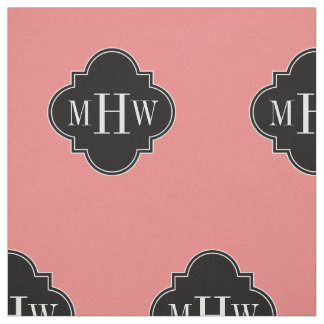 Lt Coral Solid Color Black Quatrefoil Monogram Fabric
