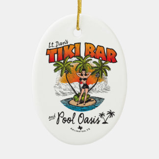 Lt. Dan's Tiki Bar & Pool Oasis Bikini Babe Ceramic Oval Ornament