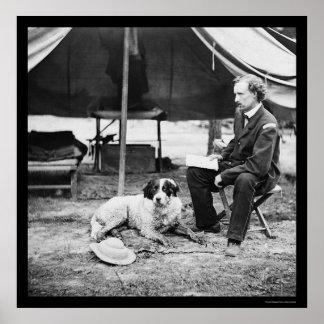 Lt. George A. Custer & Dog at Peninsula, VA 1862 Poster
