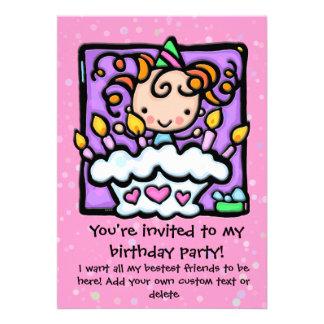 Lt Girly PINK d invitations de fête d anniversaire
