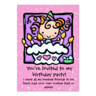 Lt Girly PINK d'invitations de fête d'anniversaire Carton D'invitation 12,7 Cm X 17,78 Cm