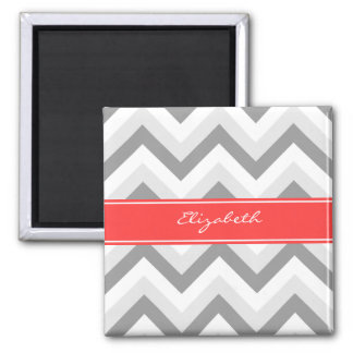 Lt Gray Med Gray White Chevron Coral Name Monogram Magnet