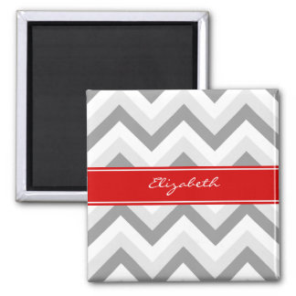 Lt Gray Med Gray White Chevron Red Name Monogram Square Magnet