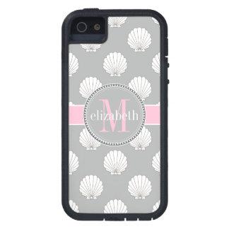 Lt Gray   Pink Clamshells Seashells Monogram iPhone 5 Covers
