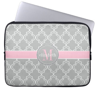 Lt Gray Pink White Moroccan Quatrefoil Monogram Laptop Sleeve