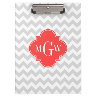 Lt Gray White Chevron Coral Quatrefoil Monogram Clipboard
