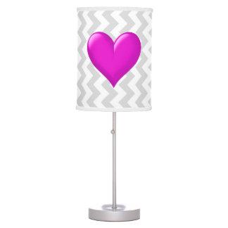 Lt Gray White Chevron, Hot Pink Shaded Heart Desk Lamps