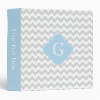 Lt Gray White Chevron Lt Blue Quatrefoil Monogram 3 Ring Binder