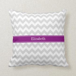 Lt Gray White Chevron Purple Name Monogram Pillow