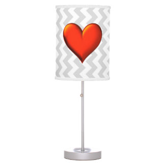 Lt Gray White Chevron, Red Shaded Heart Table Lamps