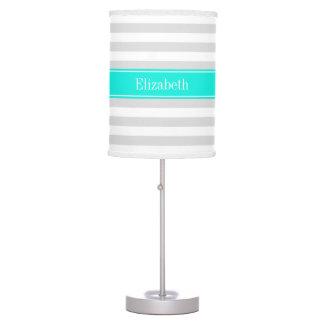 Lt Gray White Stripe Bright Aqua Name Monogram Table Lamp