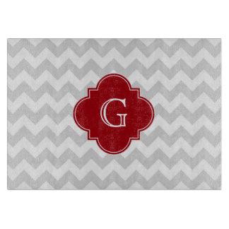 Lt Gray Wht Chevron Cranberry Quatrefoil Monogram Cutting Boards