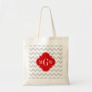 Lt Gray Wht Chevron Red Quatrefoil 3 Monogram Tote Bag