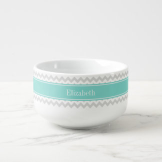 Lt Gray Wht Chevron ZigZag Aqua Name Monogram Soup Mug