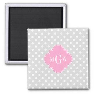 Lt Gray Wht Polka Dots Pink Quatrefoil 3 Monogram Square Magnet