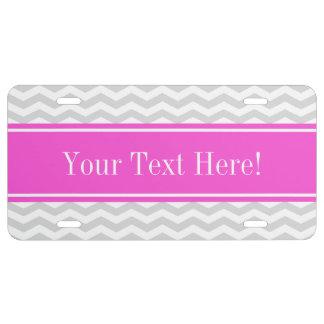 Lt Gray Wht Thin Chevron Hot Pink Name Monogram License Plate