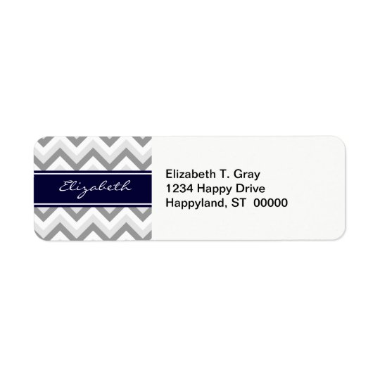 Lt Grey Med Grey White Chevron Navy Name Monogram Return Address Label
