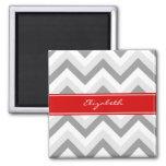 Lt Grey Med Grey White Chevron Red Name Monogram Square Magnet