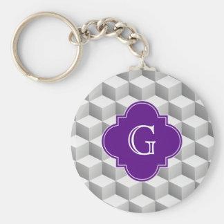 Lt Grey White 3D Look Cubes Purple Monogram Basic Round Button Keychain