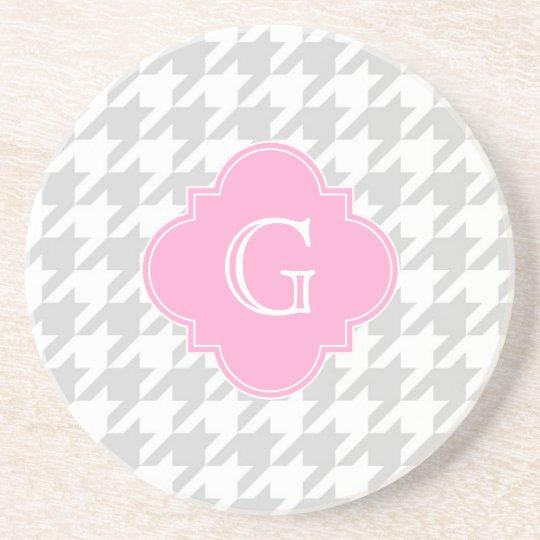 Lt Grey White Houndstooth Pink Monogram Label Coaster