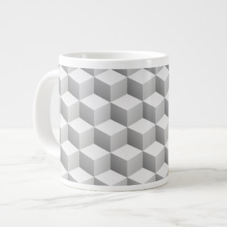 Lt Grey White Shaded 3D Look Cubes Extra Large Mug