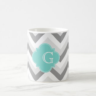 Lt Two Grey White Chevron Aqua Monogram Coffee Mug
