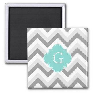 Lt Two Grey White Chevron Aqua Monogram Square Magnet