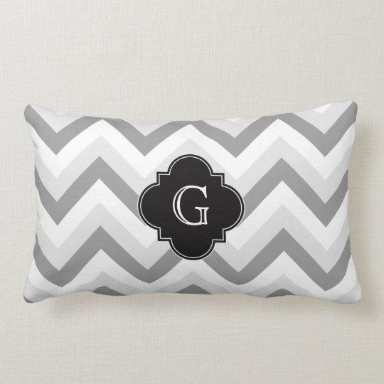 Lt Two Grey White Chevron Black Monogram Lumbar Pillow
