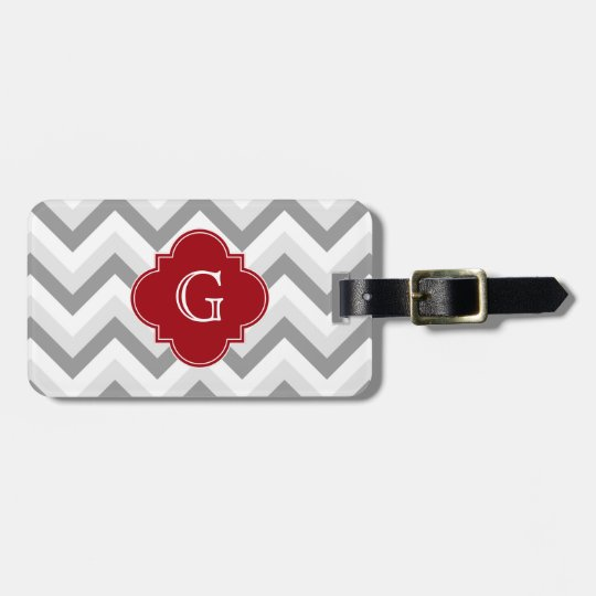 Lt Two Grey White Chevron Cranberry Monogram Luggage Tag