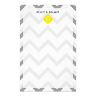 Lt Two Grey White Chevron Yellow Monogram Stationery Paper