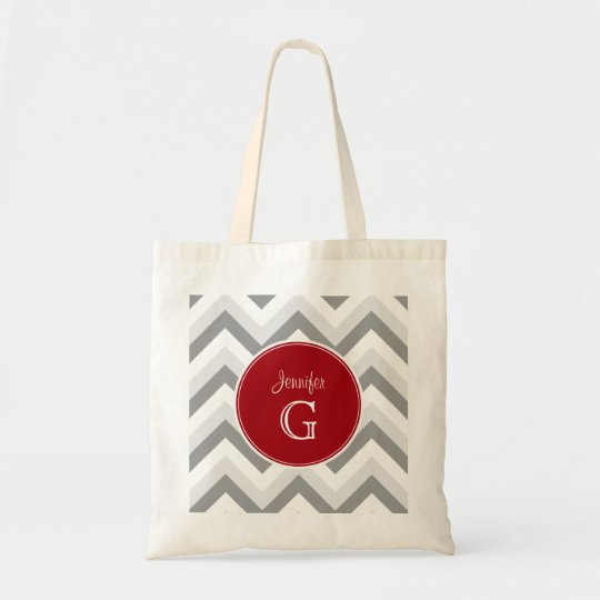 Lt Two Grey Wt Chevron Rnd Cranberry Name Monogram Tote Bag