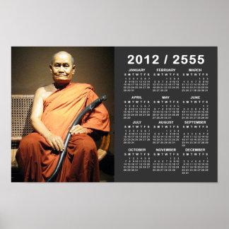 Luang Poo Cha Subhaddho 2012 / 2555 BE Calendar Poster