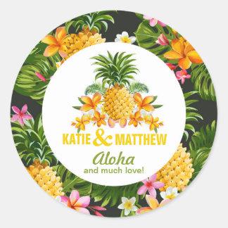 Luau Beach Tropical Floral Sticker Label
