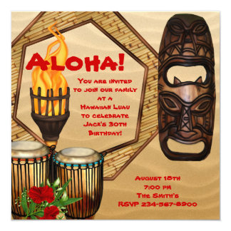 Luau Birthday Party Hawaiian Luau Party Card