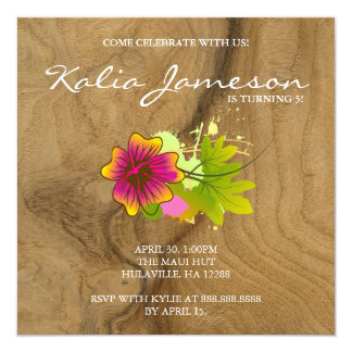 Luau Birthday Party Invite Hibiscus Flower Oak