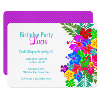 Luau Birthday Party Purple Hibiscus Swag Card