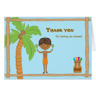 Luau Boy with Dark Hair Thank You Card