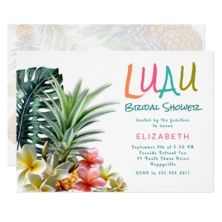 Luau Bridal Shower Pineapples Plumeria Invitation