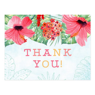 luau bridal shower thank you postcard