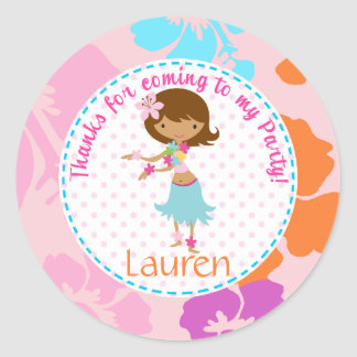 Luau Hawai girl 2inch round personalized favor tag