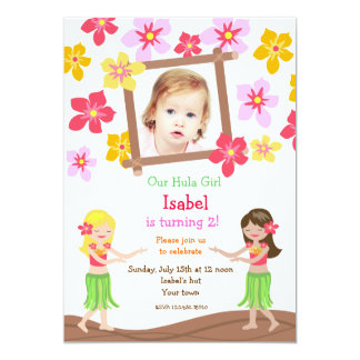 Luau Hawaiian Beach Photo Birthday Invitations
